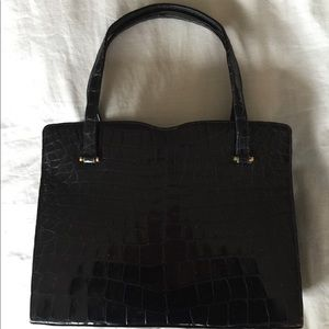Saks Fifth Avenue Navy Crocodile Bag
